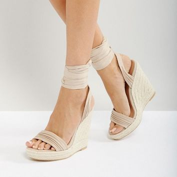Call It Spring Cadoilla Nude Espadrille Ankle Tie Sandals at asos.com