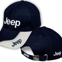 Mens JEEP Blue Beige Baseball Cap Embroidered Auto Logo Adjustable Hat