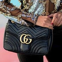 GUCCI Tide brand female models classic wave pattern chain bag shoulder bag Messenger bag 4#