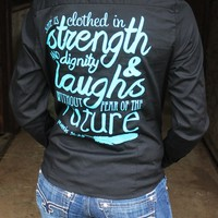 Youth She is Clothed in Strength Black Rodeo Shirt