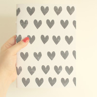 Love Notebook  * Stamped Hearts * White Cover with Black Stamped Hearts *  Love Journal * Wedding Planner * Valentine Notebook * Bride Diary