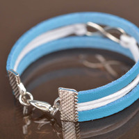 Handmade blue and white natural leather cord thin wrist bracelet for kids