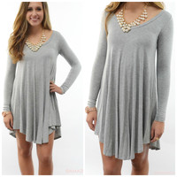 Follow Your Heart Heather Grey V-Neck Long Sleeve Dress