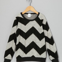 Gray Chevron Stripe Sweater - Toddler & Kids