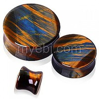 Natural Blue Tiger Eye Stone Saddle Plug