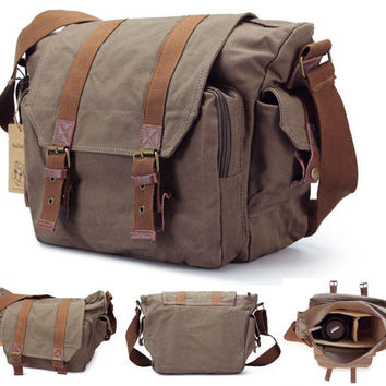 DSLR-SLR Mens Canvas Vintage Camera Shoulder Bag For Sony /Canon /Nikon New