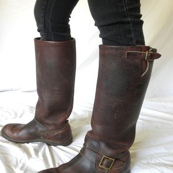 Vintage Hudson Bay Boots Herters Brown Leather RARE Snake Proof Tall Hunting Engineer Motorcycle Boots 1970s Mens Size 11 D