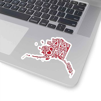 Alaska State Shape Sticker Decal - Red