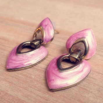 Vintage Pink Enamel Heart Drop Earrings