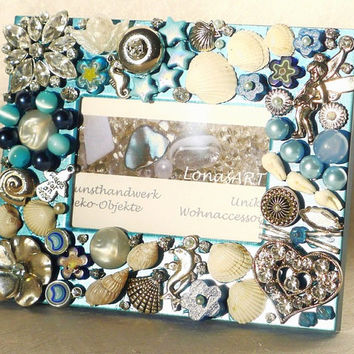 Beachy Picture Frame with Buttons Jewelry Shell Frame silver turquoise white for sea lovers