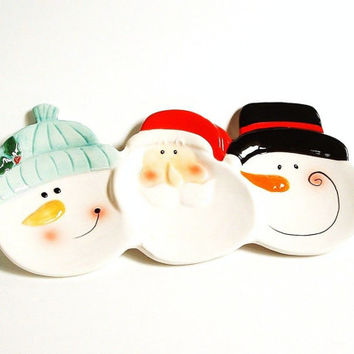 Snowman Cookie Plate , Santa Ceramic Candy Dish , Christmas Fudge Plate ,Holiday Serving , Vintage Candy Dish