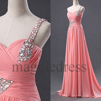 Custom Pink Beaded One Shoulder Long Prom Dresess Bridesmaid Dresses Evening Gowns Hot Homecoming Dress Party Dress Cheap Dresses