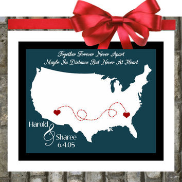Long Distance Relationship Map Gift  Custom by Printsinspired