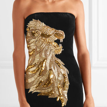 Balmain - Strapless embellished velvet mini dress
