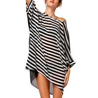Fashion Sexy Womens Beach Cover Up Stripes Oversized Beach Swimsuit Cover-up Beach Wear Swimwear Dress
