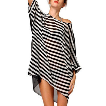 Stripes Fashion Swimsuit Cover-up Swimwear