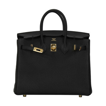 2014 HERMES Birkin Bag 25cm Black Veau Togo Gold Hardware