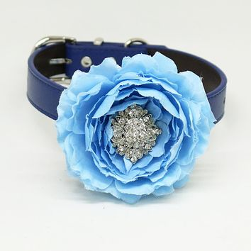 Blue flower dog collar, Blue leather dog collar