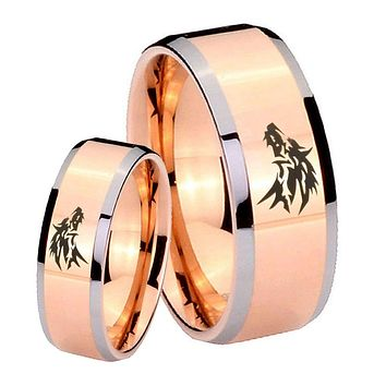 His Hers Rose Gold Beveled Wolf Design 2 Tone Tungsten Wedding Rings Set