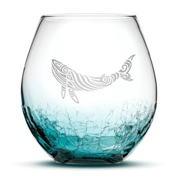 Crackle Teal Wine Glass, Whale Design, Hand Etched, 18oz