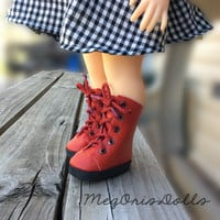 """Red Lace Up Boots fit 16"""" Disney Animator Dolls"""