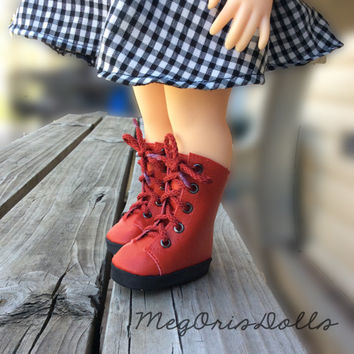"Red Lace Up Boots fit 16"" Disney Animator Dolls"