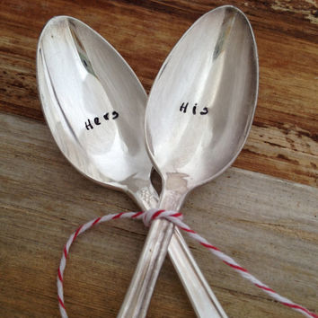 Engraved His and Hers Stamped Silver Spoons - Wedding Gift - Demitasse - Personalized Hand Stamped - Mrs. and Mrs. - Custom Silverware