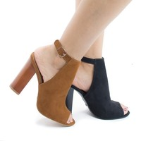 Embark03M By Bamboo, Peep Toe Sling Back Faux Wooden High Heel Sandals
