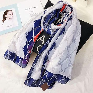 GUCCI Newest Popular Women Smooth Silk Cape Scarf Scarves Shawl Accessories