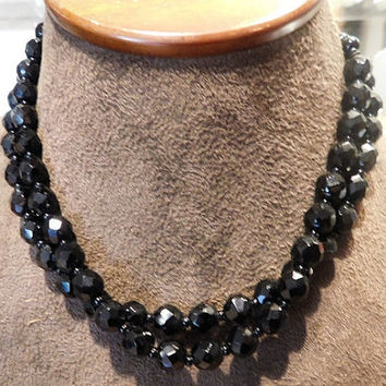 French Jet Black Glass Necklace Choker GERMANY Antique  1920s Art Deco Double Strand Faceted Beads Beaded Vintage Necklace Mourning Jewelry