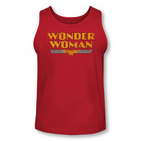 Wonder Woman Text Logo Adult Tank Top