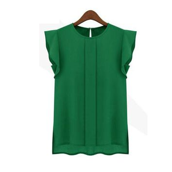 1PC Womens Casual Loose Chiffon Short Tulip Sleeve Blouse Shirt Tops