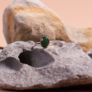OVAL JADE GOLD RING