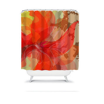 Watercolor Shower Curtain Monogram Abstract Red Orange Brown Dahlia Flower Floral Bathroom Bath Polyester Made in the USA
