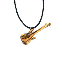 Guitar Necklace, Wood Pendant Necklace, Guitar Pendant, Wood Jewelry, Guitar Jewelry, Wood Carved Pendant, Wooden Jewelry, Wooden Pendant
