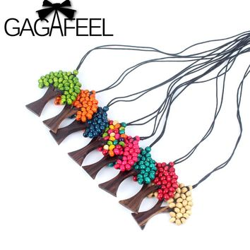 GAGAFEEL Fashion Colorful Long Necklaces for Women Jewelry Tree Of Life Rainbow Pendant Wood Beads Leather Chain Christmas Gift