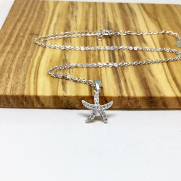 Starfish Necklace Sterling Silver Star Fish SeaStar Necklace Diamond Charm Sea Creature Pendant Small Silver