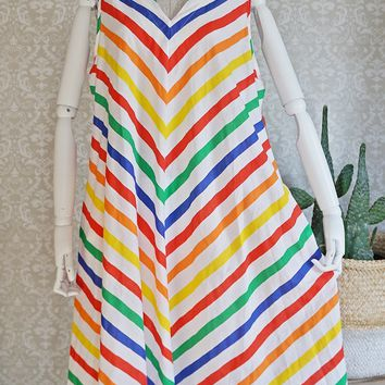 Vintage 1970s Chevron Stripe + Rainbow Tent Dress