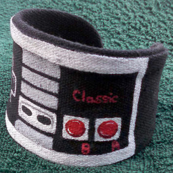 Hand Painted Cuff NES Game Controller Custom Geek Jewelry Wrist Cuff Nerdy Accessories Nintendo Controller Retro Gaming Gamer Gift Ideas