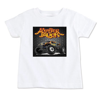 T-Shirts-Birthday T-Shirt-Party T-Shirts-Personalized-Custom T-Shirts-Monster Truck-Front Only