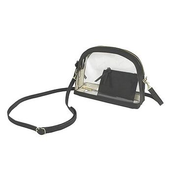 Clear Half Moon Crossbody | Black