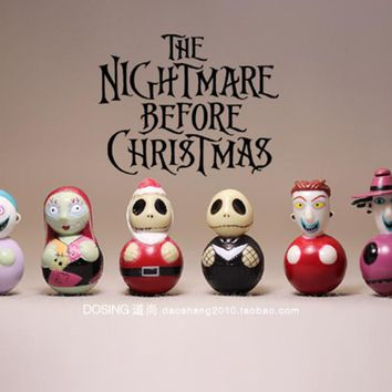 6pcs/lot New 3.5CM PVC nightmare before christmas action figures Tumbler Model Toy Jack Best Christmas Gift kid toys