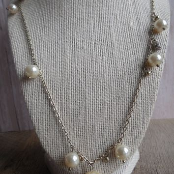 "12"" J Crew Faux Pearl Silver Tone Necklace"