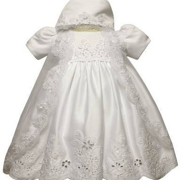 Baby Girl Toddler Christening Baptism Dress Gowns outfit set with bonnet /XS/S/M/L/XL/0-3M/3-6M/6-12M/12-18M/18-24M/XSMALL/SMALL/MEDIUM/LARGE/XL/2t/#5422