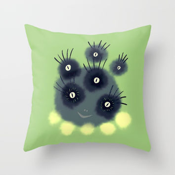 Creepy Cute Spider Face Monster Throw Pillow by borianagiormova