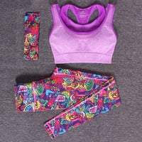 Hot 3 Pieces Sports Bra + Yoga Pants + Headband Fitness Yoga Compression Pants Gym Sportswear Running Tights Women Leggings