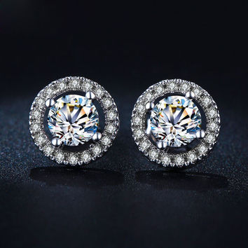 Women White Gold Color Stud Earrings AAA Zircon Round Boucle Wedding Jewelry +Gift Box