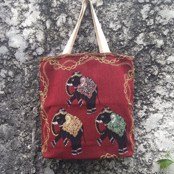 Elephants Tote Diaper Bags Boho Hobo Tribal Aztec Tapestry Ethnic Ikat Styles Woven Travel Messenger Laptop Bag For School Chic Cute Red