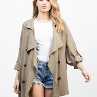 Flowy Buttoned Trench Jacket