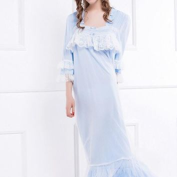 Free Shipping New Summer and Autumn Women's Long Blue and White Vintage Pyjamas Lace Sleepwear Lady Nightgown Royal Nightshirt